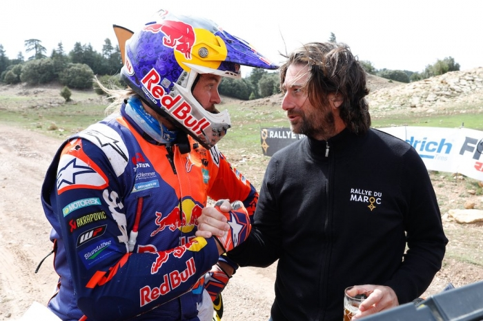 PRICE Toby (AUS), Red Bull KTM Factory Racing, KTM 450 Rally Factory, moto, quad, portrait, CASTERA David (fra), Director of the Rallye du Maroc, portrait  during Rally of Morocco 2018, Podium finish, Fes, october 9 - Photo Frederic Le Floc'h / DPPI