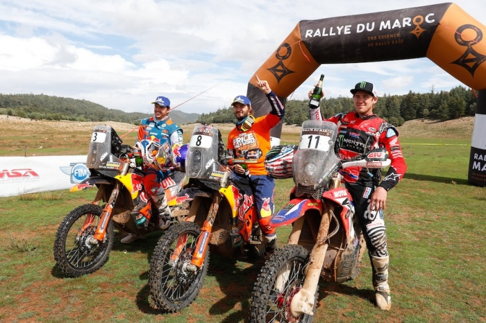 PRICE Toby (AUS), Red Bull KTM Factory Racing, KTM 450 Rally Factory, moto, quad, portrait BRABEC Ricky (USA), Monster Energy Honda Team, Honda CRF 450 Rally, moto, quad, portrait WALKNER Matthias (AUT), Red Bull KTM Factory Racing, KTM 450 Rally Factory, moto, quad, portrait  during Rally of Morocco 2018, Podium finish, Fes, october 9 - Photo Frederic Le Floc'h / DPPI