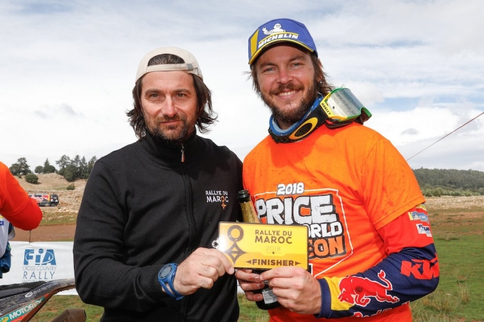 CASTERA David (fra), Director of the Rallye du Maroc, portrait PRICE Toby (AUS), Red Bull KTM Factory Racing, KTM 450 Rally Factory, moto, quad, portrait  during Rally of Morocco 2018, Podium finish, Fes, october 9 - Photo Frederic Le Floc'h / DPPI
