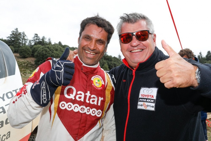 Jean-Marc Fortin, AL ATTIYA Nasser (QAT), Toyota Gazoo Racing South Africa, Toyota Hilux, auto, portrait  during Rally of Morocco 2018, Podium finish, Fes, october 9 - Photo Frederic Le Floc'h / DPPI