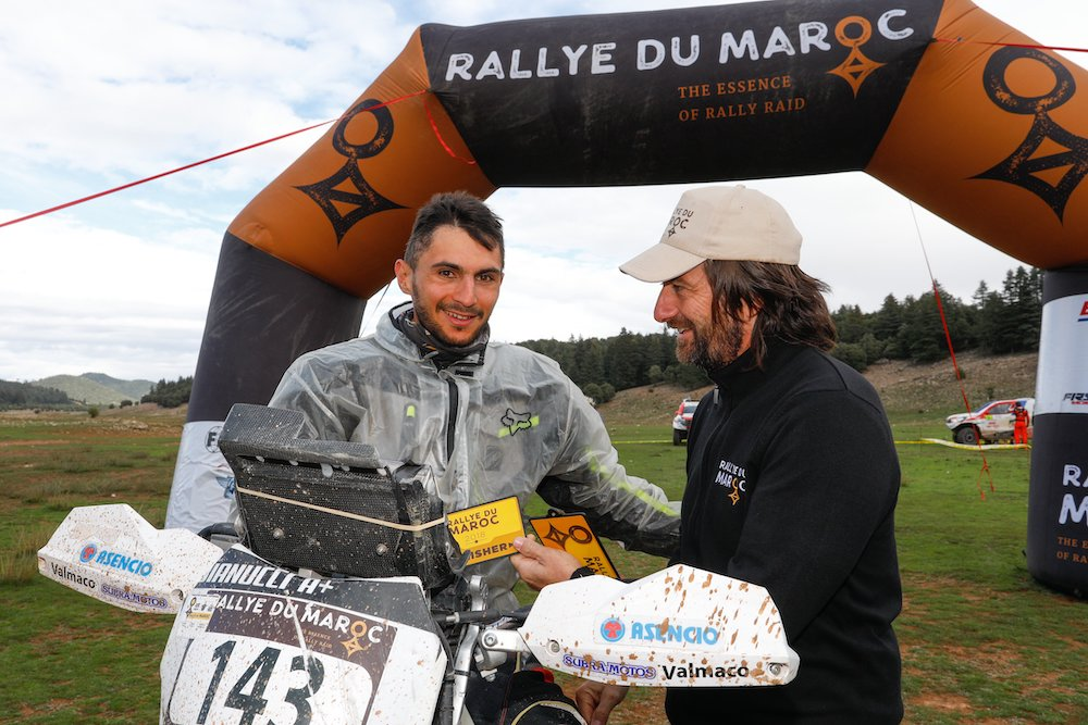 BIANUCCI Max (FRA), Nomade Racing, Honda CRF 450, Enduro Cup, portrait CASTERA David (fra), Director of the Rallye du Maroc, portrait   during Rally of Morocco 2018, Podium finish, Fes, october 9 - Photo Frederic Le Floc'h / DPPI