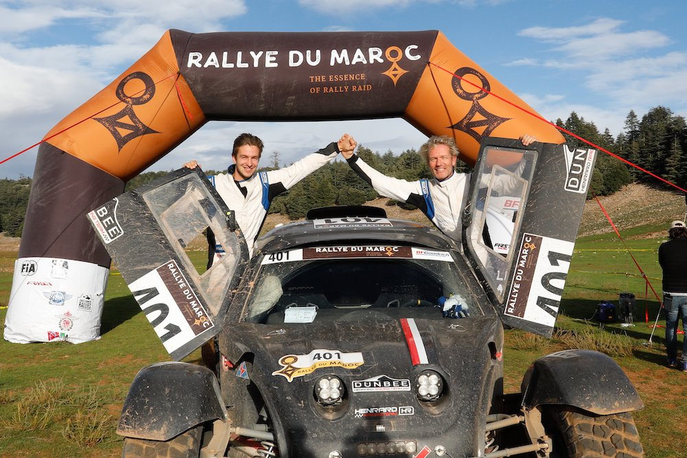401 LAMBILLIOTTE Philippe (BEL), LAMBILLIOTTE Maxime (BEL), Henrard Racing Team, Henrard Racing Dunbee, Open, portrait,  during Rally of Morocco 2018, Podium finish, Fes, october 9 - Photo Frederic Le Floc'h / DPPI