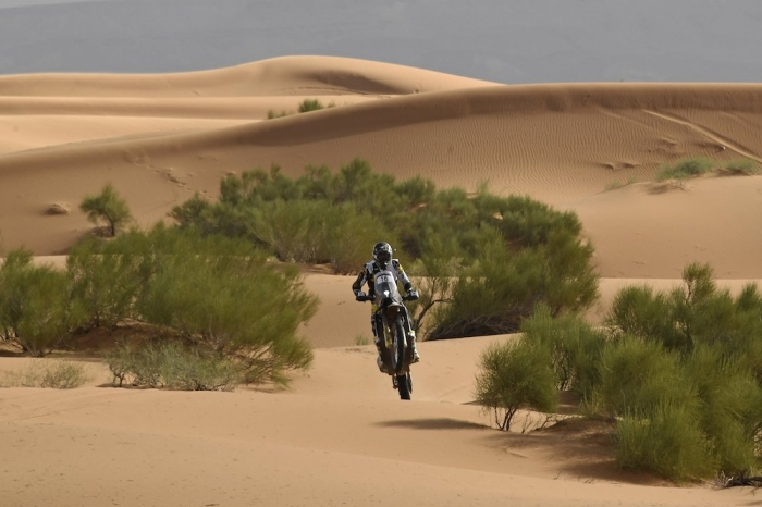 16 SHORT Andrew (USA), Rockstar Husqvarna Factory Racing, Husqvarna FR450 Rally Factory, moto, quad, action during Rally of Morocco 2018, Stage 4, Erfoud to Erfoud, october 8 - Photo Eric Vargiolu / DPPI