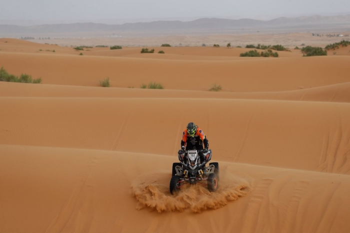 163 LEBOEUF Sebastien (FRA), Nomade Racing, Honda TRX 700, Enduro Cup, action  during Rally of Morocco 2018, Stage 4, Erfoud to Erfoud, october 8 - Photo Frederic Le Floc'h / DPPI