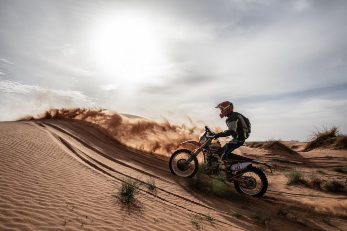 143 BIANUCCI Max (FRA), Nomade Racing, Honda CRF 450, Enduro Cup, action  during Rally of Morocco 2018, Stage 2, Erfoud to Erfoud, october 6 - Photo Frederic Le Floc'h / DPPI