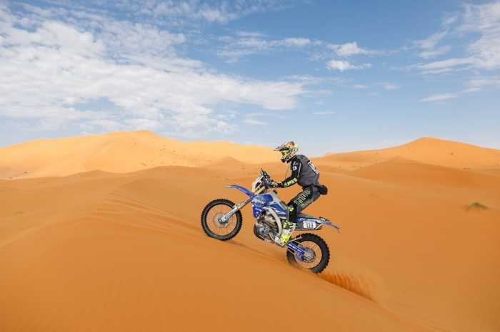 123 POUL Maximilien (FRA), Team Drag On, Yamaha WRF 450, Enduro Cup, action  during Rally of Morocco 2018, Stage 4, Erfoud to Erfoud, october 8 - Photo Frederic Le Floc'h / DPPI