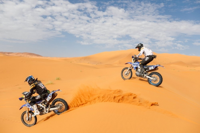 134 PLANCKART Arthur (FRA), Planckart Motorsport, Yamaha WRF 450, Enduro Cup, action 136 BOUCHE Quentin (FRA), Planckart Motorsport, Yamaha WRF 450, Enduro Cup, action   during Rally of Morocco 2018, Stage 4, Erfoud to Erfoud, october 8 - Photo Frederic Le Floc'h / DPPI