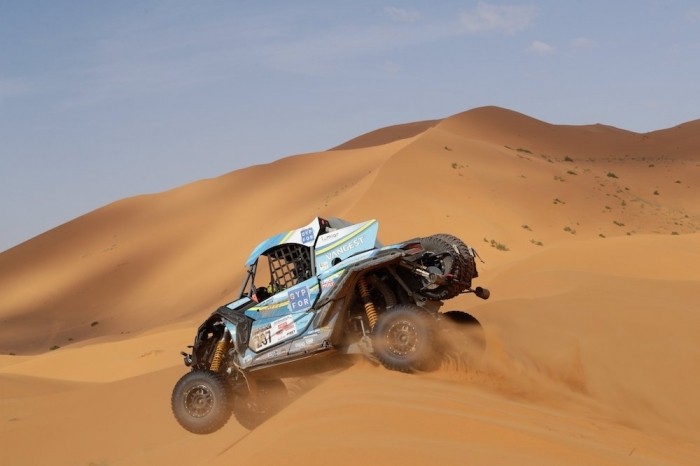 207 JORDAO Miguel (POR), ROLDAN Lourival (BRE), South Racing, Can-Am Maverick X3, SSV, action  during Rally of Morocco 2018, Stage 4, Erfoud to Erfoud, october 8 - Photo Frederic Le Floc'h / DPPI